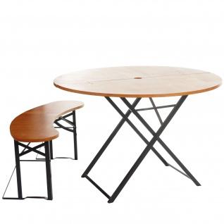 Bierzeltgarnitur Erding, Biertischgarnitur, klappbar 115cm Tisch+Bank rund gebeizt
