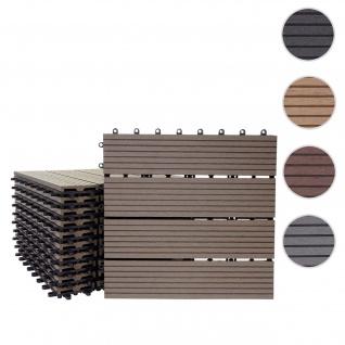 WPC Bodenfliese Rhone, Holzoptik Balkon/Terrasse, 11x je 30x30cm = 1qm ~ Basis, coffee linear