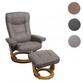 MCA Relaxsessel Hamilton, Fernsehsessel Hocker, Stoff/Textil 130kg belastbar ~ hellgrau, naturbraun