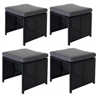 4x Poly-Rattan Hocker Kreta, Sitzhocker Lounge-Set, 36x40cm schwarz Kissen grau