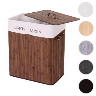 Wäschekorb HWC-C21, Laundry Wäschebox Wäschesammler Wäschebehälter, Bambus 2 Fächer 63x55x34cm 100l ~ braun