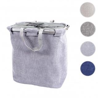 Wäschesammler HWC-C34, Laundry Wäschekorb Wäschebehälter mit Kordelzug, 2 Fächer Henkel 54x52x32cm 89l ~ cord grau