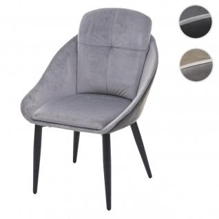 Esszimmerstuhl HWC-G42, Stuhl mit Armlehne Küchenstuhl Lehnstuhl ~ Samt, grau-anthrazit