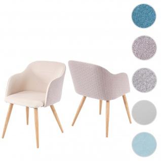 2x Esszimmerstuhl HWC-D71, Stuhl Küchenstuhl, Retro Design, Armlehnen Stoff/Textil ~ creme-beige