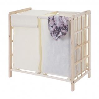 Wäschesammler HWC-B60, Laundry Wäschesortierer Wäschebox Wäschekorb Wäschebehälter, Tanne 2 Fächer 60x60x33cm 68l
