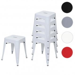 6x Hocker HWC-A73, Metallhocker Sitzhocker, Metall Industriedesign stapelbar ~ weiß