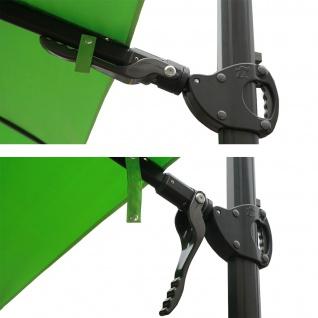 Gastronomie-Ampelschirm HWC-A39, 3x3m (Ø4, 24m) schwenkbar drehbar, Polyester/Alu 31kg ~ grün mit Ständer - Vorschau 5