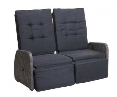 Garnitur HWC-J35, Lounge-Set Sitzgruppe Sofa, Spun Poly halbrundes Poly-Rattan ~ grau, Kissen anthrazit - Vorschau 4