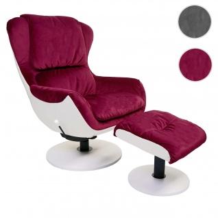 Relaxsessel HWC-E52, Fernsehsessel TV-Sessel Hocker, drehbar Samt/Kunstleder bordeaux