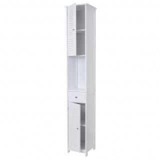 Badezimmerset HWC-F75, Badmöbel-Set Hochschrank Waschbeckenunterschrank Kommode Wandspiegel, Landhaus weiß - Vorschau 2
