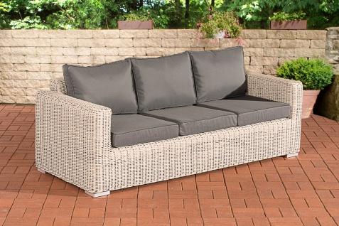 3er Sofa CP053, 3-Sitzer, Poly-Rattan ~ Kissen eisengrau, perlweiß