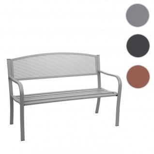 Gartenbank HWC-F52, Bank Parkbank Sitzbank, 2-Sitzer pulverbeschichteter Stahl ~ grau