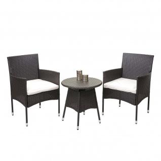 Poly-Rattan Balkonset HWC-G27, Sitzgarnitur Gartengarnitur Sitzgruppe, 2xSessel+Tisch grau, Kissen creme - Vorschau 2