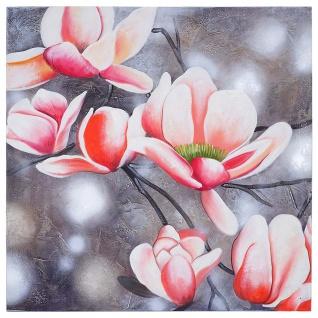 Ölgemälde Blumenzweig, 100% handgemaltes Wandbild Gemälde XL, 90x90cm - Vorschau 4