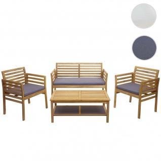 Gartengarnitur HWC-E99b, Sitzgruppe Balkon-Set Lounge-Set, Akazienholz massiv ~ Kissen dunkelgrau