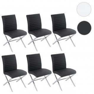 6x Esszimmerstuhl Fano, Stuhl Lehnstuhl, Kunstleder chrom schwarz