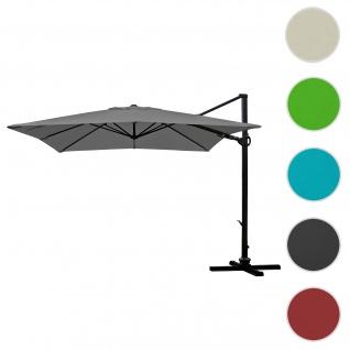 Gastronomie-Ampelschirm HWC-A39, 3x3m (Ø4, 24m) schwenkbar drehbar, Polyester/Alu 31kg ~ anthrazit ohne Ständer - Vorschau 1