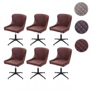 6x Esszimmerstuhl HWC-H79, Lounge-Stuhl Küchenstuhl, höhenverstellbar drehbar Vintage Metall Stoff/Textil braun