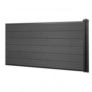 WPC-Sichtschutz Sarthe, Windschutz Zaun, WPC-Pfosten ~ Erweiterungselement niedrig, 1, 88m anthrazit