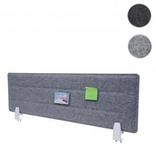 Tischtrennwand HWC-G76, Büro-Sichtschutz Schreibtisch Pinnwand, Klemmen Stoff/Textil mit Prägung ~ 100x30cm grau