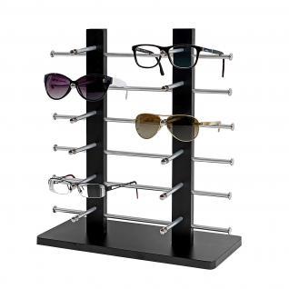 Brillenständer Vendee, Brillenhalter Brillendisplay für 12 Brillen, 42x39cm ~ schwarz