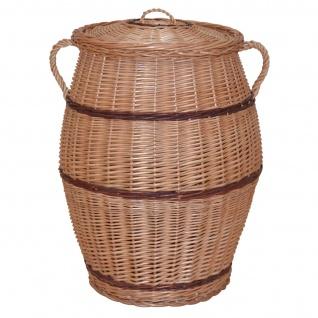 Wäschekorb H183, Wäschesammler Wäschetonne Wäschebox, Weide handgeflochten, 63x50x45cm
