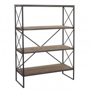 Bücherregal HWC-C10, Standregal Wohnregal, Echtholz Metall ~ 4 Ebenen, 142x100cm