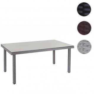Poly-Rattan Gartentisch Cava, Esstisch Tisch mit Glasplatte, 160x90x74cm