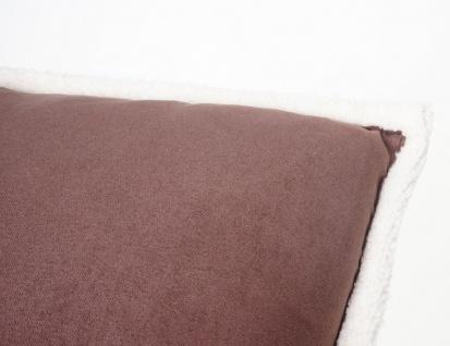 Deko-Kissen Wildlederimitat, Sofakissen Zierkissen mit Füllung, braun Fellimitat 45x45cm - Vorschau 4