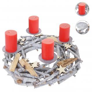 Adventskranz rund, Weihnachtsdeko Tischkranz, Holz Ø 40cm grau ~ mit Kerzen, rot