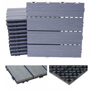WPC Bodenfliese HWC-E21, Holzoptik Balkon/Terrasse, 3D-Struktur linear beschichtet-grau ~ 11x je 30x30cm = 1qm