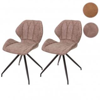 2x Esszimmerstuhl HWC-B46, Stuhl Küchenstuhl, Wildlederimitat Vintage Kunstleder, braun