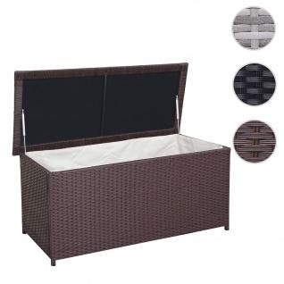 Poly-Rattan Kissenbox HWC-D43, Truhe Auflagenbox Gartentruhe, 63x135x52cm 290l braun