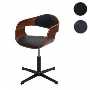 Esszimmerstuhl HWC-H46, Küchenstuhl, höhenverstellbar Drehmechanismus Bugholz Walnuss-Optik, Kunstleder schwarz