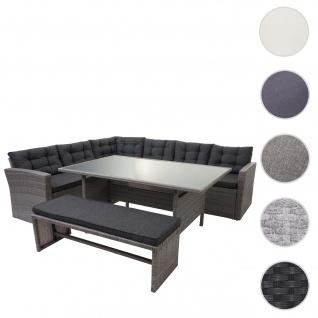 Poly-Rattan-Garnitur HWC-A29, Gartengarnitur Sitzgruppe Lounge-Esstisch-Set Sofa ~ grau, Kissen grau + Bank