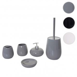 5-teiliges Badset HWC-C72, WC-Garnitur Badezimmerset Badaccessoires, Keramik ~ grau