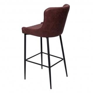 2x Barhocker HWC-H79, Barstuhl Tresenhocker, Vintage Metall Fußablage ~ Stoff/Textil braun - Vorschau 4