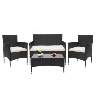 Poly-Rattan Garnitur HWC-F55, Balkon-/Garten-/Lounge-Set Sofa Sitzgruppe ~ schwarz, Kissen creme - Vorschau 2
