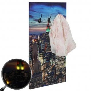 Foto-Wandgarderobe HWC-C75, Garderobe LED-Wandbild, 6 Haken 40x80cm, New York - Vorschau 2