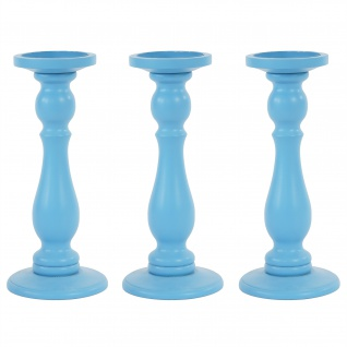 3er Set Kerzenständer T355, Kerzenhalter Kerzenleuchter, Höhe 29cm, blau