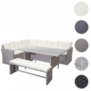 Poly-Rattan-Garnitur HWC-A29, Gartengarnitur Sitzgruppe Lounge-Esstisch-Set Sofa ~ hellgrau, Kissen creme + Bank