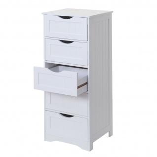 Kommode HWC-B65, Schubladenschrank Schrank, 5 Schubladen 100x40x35cm ~ weiß - Vorschau 3