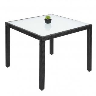 Poly-Rattan Esstisch HWC-F49, Esszimmertisch Gartentisch Tisch, 90x90cm anthrazit
