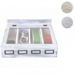 Aufbewahrungsbox HWC-C25, Teebox Schmuckkästchen Kiste, Paulownia 17x37x33cm ~ weiß, shabby