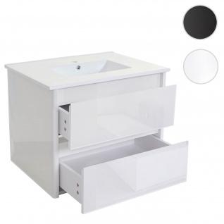 Waschbecken + Unterschrank HWC-B19, Waschbecken Waschtisch Badezimmer, hochglanz 50x80cm weiß
