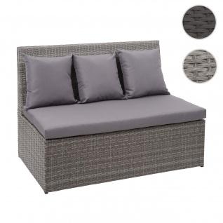 Poly-Rattan 2er Sofa HWC-G16, Lounge-Gartenbank Sitzbank Sessel, Gastronomie 120cm ~ grau, Kissen dunkelgrau