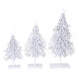 3er Set Dekobäume, S+M+L Weihnachtsbaum Christbaum Dekotanne 60/28/12cm weiß-grau