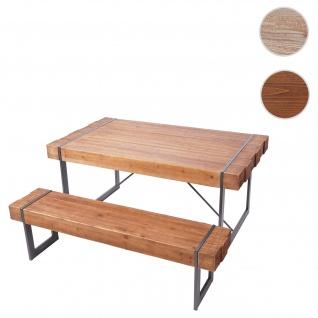 Esszimmergarnitur HWC-A15, Esstisch + 1x Sitzbank, Tanne Holz rustikal massiv ~ braun 160cm