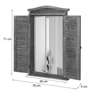 Wandspiegel Badspiegel Badezimmer Spiegelfenster mit Fensterläden, 71x46x5cm ~ shabby braun - Vorschau 4