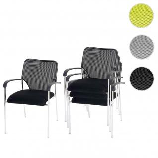 4x Besucherstuhl Tulsa, Konferenzstuhl stapelbar, Stoff/Textil Sitz schwarz, Rückenfläche schwarz